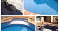 Collage of a pool renovation with a liner replacement and pebble finish on steps