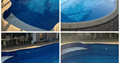 A grid of 4 photos showing the newly renovated pool with a fresh liner