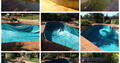 A grid of photos showing the old pool, the liner replacement process and the renovated pool